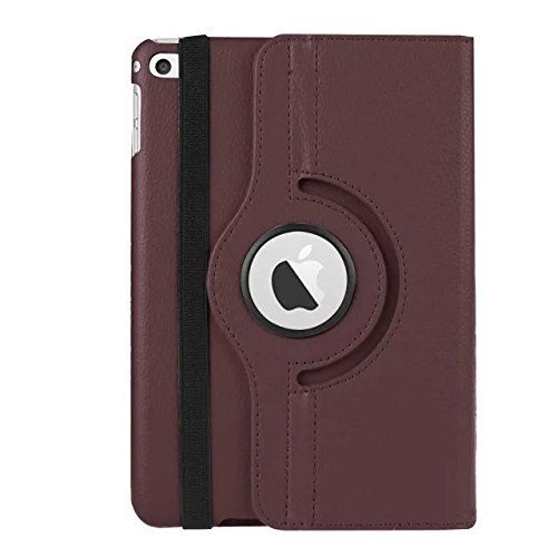 Nkgk 360°Degree Rotating PU Leather magnetic Stand Flip Cover For Apple iPad Mini 1,Mini 2,Mini 3 (Brown)