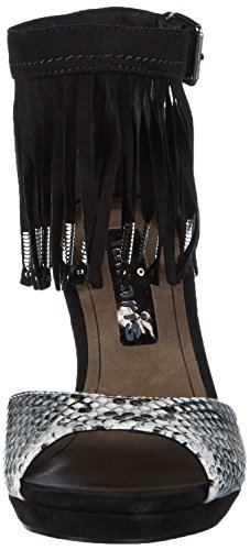 Tamaris - 28393, Scarpe col tacco con cinturino a T Donna Multicolore (Mehrfarbig (BLACK COMB 098))