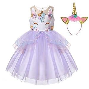 LZH Unicornio Vestido de Niñas