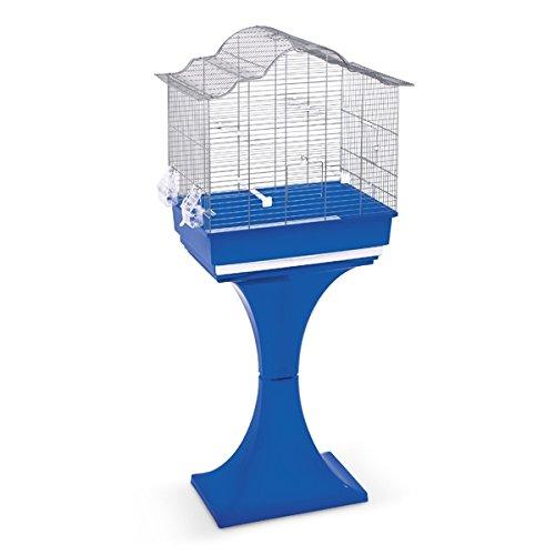Gabbia Londra per uccelli, con supporto - In metallo, completa di supporto in plastica e accessori