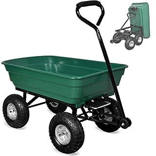 Chariot de jardin, remorque utilitaire extérieure robuste de camion à benne basculante, 4 roues pneumatiques de pneu, capacité de charge 75l 150kg