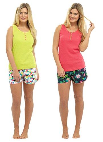 Mesdames Ensemble pyjama imprimé pour homme et pour femme Blanc - Vert