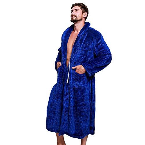 Preisvergleich Produktbild NPRADLA 2018 Nachtwäsche Herren Winter verlängert Coraline Plüsch Schal Bademantel Langarm Robe Tops Mantel(S / 42, Marineblau)