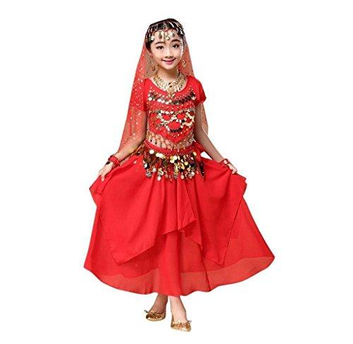 Mädchen Bauchtanz Outfit Kostüm, Amcool Indien Tanz Kleidung Top + Rock (S, Rot)