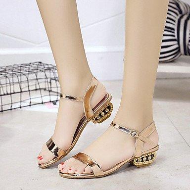 RUGAI-UE Estate Moda Donna Sandali Casual PU scarpe tacchi comfort,Black,US8 / EU39 / UK6 / CN39 Champagne