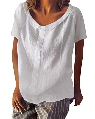 Baumwoll-leinen-muster (Minetom Shallood Damen Sommer Elegante Leinen Einfarbig Kurzarm T-Shirt 3/4 Arm Tunika Blusen V Ausschnitt Leicht Asymmetrisch Shirt mit Knopf A Weiß DE 48)