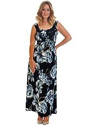b2ebc84f0f34ac Neues Damen Übergrößen Kleid Frauen Blume Druck Maxi Ärmellos Elegant Lang  Ladies Plus Size Floral Print