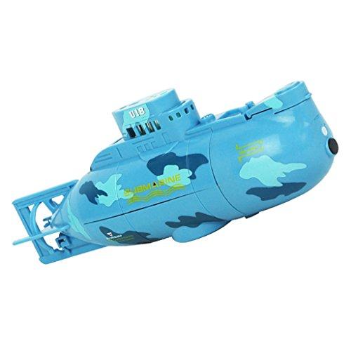 MagiDeal Mini RC Racing Sous-marin Bateau Modèle 3CH Jouet Télécommandé RTR avec Câble USB Cadeau Enfant - Bleu