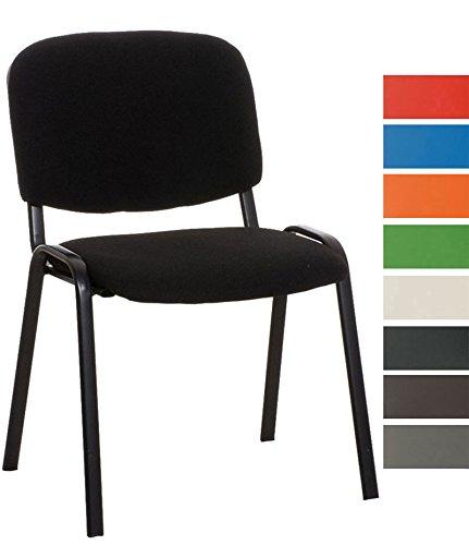 CLP Stapel-Stuhl KEN Stoff Bezug, Besucher-Stuhl stapelbar, gepolstert - preiswert, robust, einfach bequem schwarz