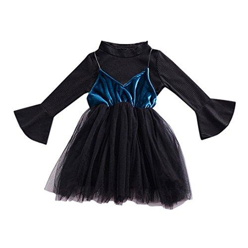 Gaze Pullover (Malloom® Kleinkind Baby feste Glocken Hülsen Oberseiten Bügel Gaze Kleid Ausstattungs Kleidungssätze Trompete Ärmel Shirt plus Mesh Gaze Kleid zwei Anzug (blau, 100))