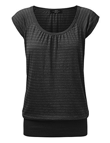 WT1358 Womens Scoop Neck Short Sleeve Stripe Sweerheart Top M BLACK_STRIPE (Stripe Scoop Top Neck)