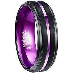 Nuncad Ring Herren schwarz 8mm, Unisex Ring aus Wolframcarbid mit lila gebürstet für Partnerschaft, Geburtstag, Valentinstag, Geschenkidee, Größe 59 (19)