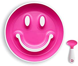 Munchkin Smile 'n Scoop Suction Training Plate and Spoon Set (Pink)