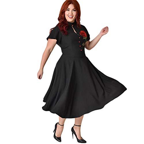 Xinwcang plus size casual floreale stampa midi sera party donne vestono manica corta elegante vestito taglie forti nero 4xl