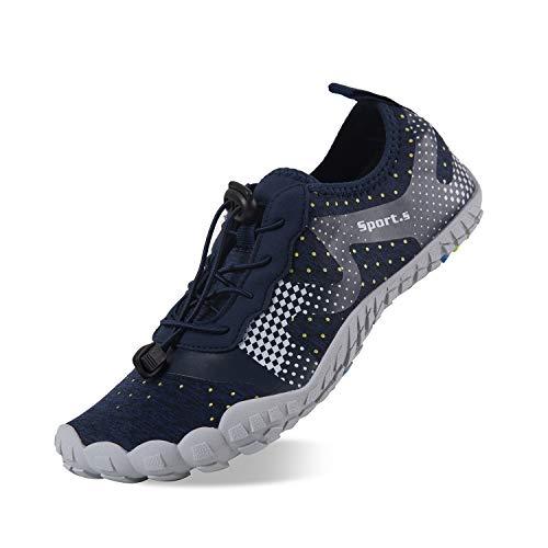 Herren Outdoor Fitnessschuhe Barfußschuhe Trekking Schuhe Badeschuhe Schnell Trocknend Rutschfest(Blau Grau,43 EU)