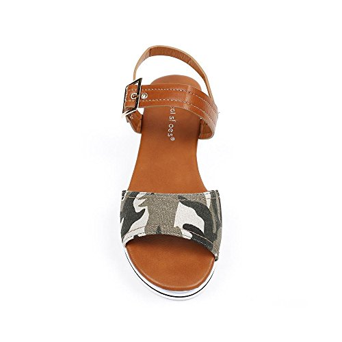 Ideal Shoes ,  Sandali donna militaire