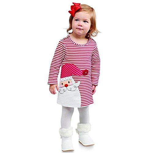 feiXIANG Kleinkind Röcke Kinder mädchen Mädchen Prinzessinnenkleid Weihnachten Babykleidung Kleider Outfits Mädchen Hemdkleid kleiden für Kinder (100, Rot)