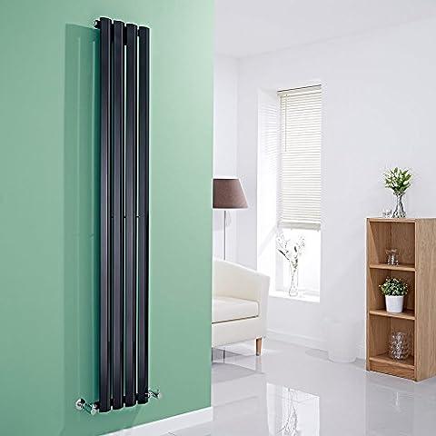 HUDSON REED - Radiateur Design Noir Vertical - Gamme Salisbury - 178 X 28 X 6 CM 700 Watts