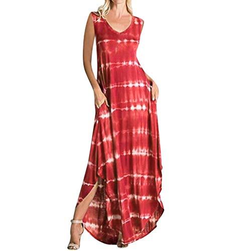 ShaDiao Damen Sommerkleider - Mode Sommer Gedruckt V-Ausschnitt Beach Party Lange Kleider Böhmische Kleider (Dunkel Braunes Kleid Hose Frauen)