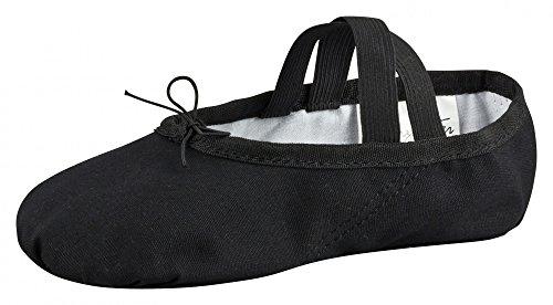tanzmuster Ballettschuhe / Ballettschläppchen aus Leinen, ganze Sohle, für Kinder und Erwachsene in schwarz, (Kostüme Beige Tanz)
