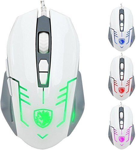 GW SADES S6 Cataclysm Wired USB PC Gaming Mouse Mice 2500 DPI LED Lights Braided Cable(White) 41jfKMFwgWL