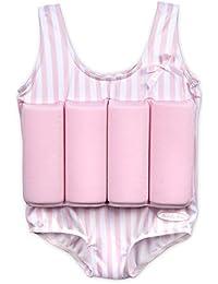 Maillot de bain pour fillettes avec flotteurs couleur rose/ blanc rayures bouée