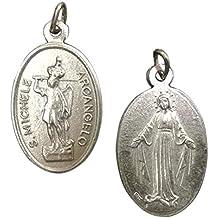Eurofusioni Medalla chapeada Plata San Miguel Arcángel y Virgen Milagrosa - H 2,5 cm