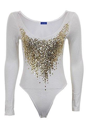 Zaffiro Donna Paillettes Color Oro Manica Lunga Inserti Trasparenti Schiena Body Donna Body Bianco