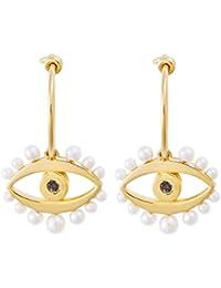 Eye M by Ileana Makri Women 925 Silver Yellow Hoop Earrings 02.1143.42.099