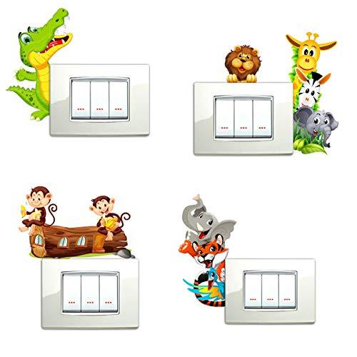 Adesivi murali bambini adesivi per interruttore 5 pezzi giraffa zebra allegri e colorati animaletti della savana animali zoo scimmiette coccodrillo wall stickers adesivo murale decorazione cameretta