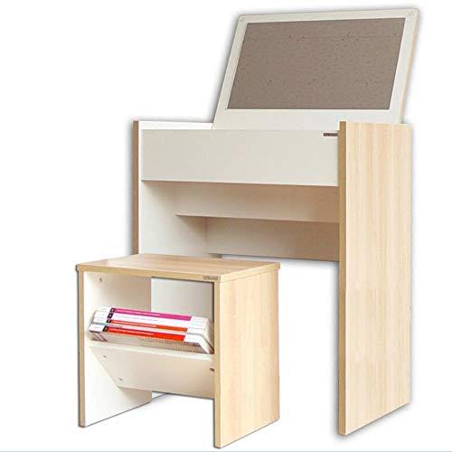 Schreibtische HAIZHEN Schminktisch mit Flip-Top-Spiegel Make-up Schminktisch mit Organizers Wooden Klapptisch (Farbe : Table+Stool) - Flip-top-schreibtisch