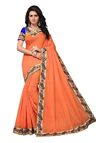 Fashion Vogue Sarees for Women Latest Design New Collection 2018 Stylish Party Wear Saree For Women For Occasions For Daily Wear Saree With Blouse Piece (Orange)