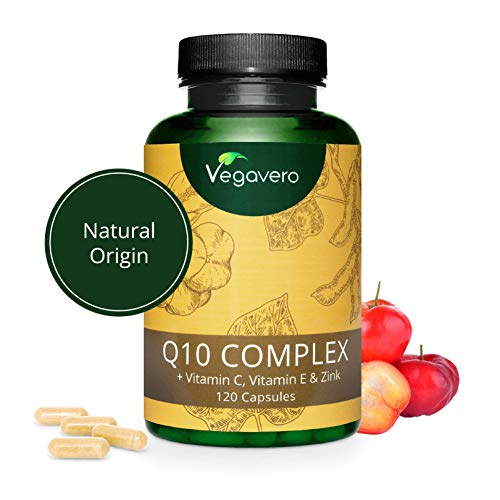 Coenzima Q10 100mg Vegavero | La Única Natural | COMBINACIÓN ÚNICA: Con Vitaminas C + E...