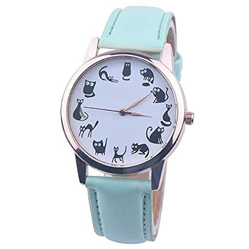 Frauen Uhren,Moeavan Katzen Muster Frauen QuarzUhren Clearance analoge DamenUhren Leder Mädchen Frauen Uhren (Grün)