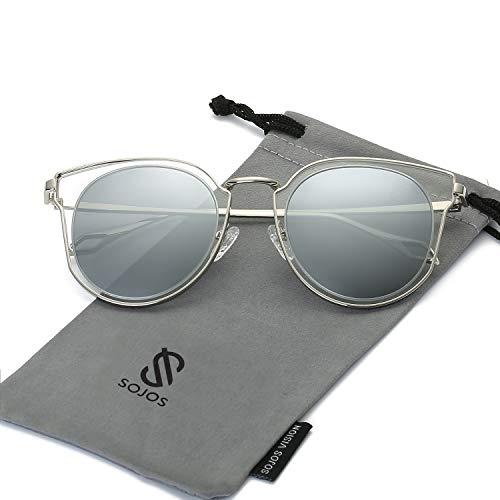 SOJOS Schick Klassische Retro Rund UV Schützen Polarisiert Sonnenbrille für Damen und Herren SJ1057 mit Silber Rahmen/Silber Linse