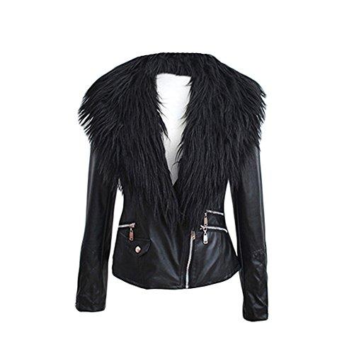 VLUNT veste de fourrure d'hiver veste de manteau de la veste des femmes Manteau Parka en fausse fourrure B