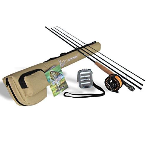 K & E Outfitters Drift Series 5WT Fly Angel und Rolle komplett Paket, Ds954, Black Reel (River Fishing Rod Und Reel)