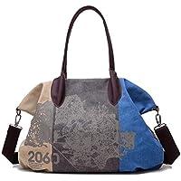 Costura Retro Color De Contraste Bolsa De Lona Nombro Moda Bolsos De Impresión Messenger Bag,3