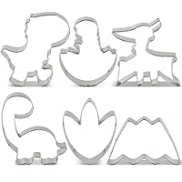 KENIAO Cute Baby Dinosaur Cookie Cutter Set for Kids - 6 Piece - T-Rex, Brontosaurus, Pterosaur, Dino in Egg, Dinosaur Foot and Volcano Fondant Cutters - Stainless Steel
