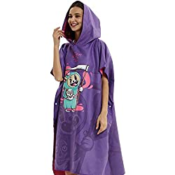 PUDDINGHH® Adulte Capuche en Tissu éponge Changement Robe Ladies Beach Surf Natation Poncho Poncho, Strandkorb Serviette,Purple