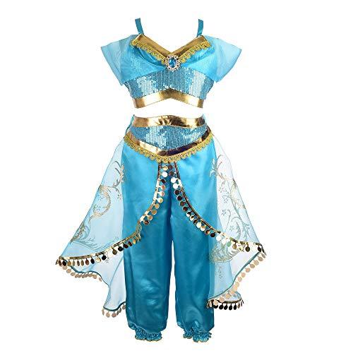 Mooler - costume da principessa gelsomino, per travestimento da bambina, per halloween e carnevale jasmine blue 150 cm (9-10 anni)