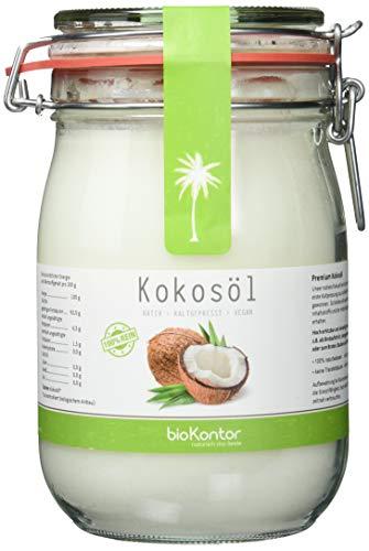 bioKontor BIO Kokosöl, nativ, erste Kaltpressung, 100{1606c4387c4197ff62ffd2147f7d7b9757bbe4946d4131d3c6a53a1e779fc993} rein Bügelglas, 1000 ml