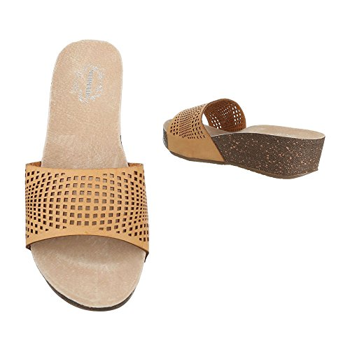 Pantoletten Damenschuhe Jazz & Modern Keilabsatz/ Wedge Keilabsatz Ital-Design Sandalen / Sandaletten Camel