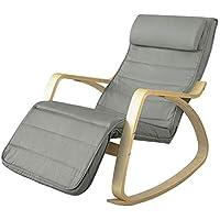 SoBuy® FST16-DG Fauteuil à Bascule avec Repose-Pied Réglable Design Rocking Chair Fauteuil Relax Bouleau Flexible - Gris