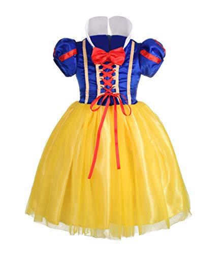 Lito Angels Mädchen Prinzessin Schneewittchen Kleid Kostüm Weihnachten Halloween Party Verkleidung Karneval Cosplay Kinder 4-5 - Mädchen Schneewittchen Kostüm