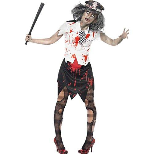 Zombie Polizistin Kostüm Polizei weiß rot schwarz L 44/46 Polizeikostüm Polizistinnen Kostüm Halloween Zombiekostüm Damen Horrorkostüme (Kostüm Zombie Polizei)