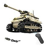 iVansa DIY Battle Panzer 2.4G RC Ferngesteuert Tank Kettenfahrzeug, Mini Panzer mit USB Ladekabel Fernbedienung, Ideal Geschenk für Kinder, mit 497 Zubehör