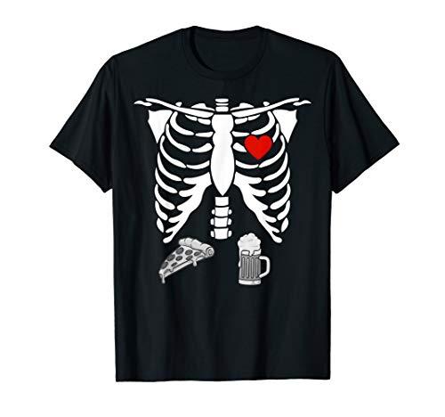 Lustig Halloween Skelett Schwangerschaft Pizza Bier X-Ray T-Shirt (Gruselig Schwangerschaft Halloween-kostüme)