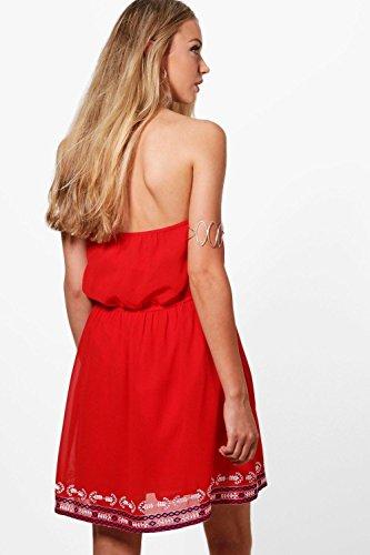 Damen Rot Boutique Frey Georgette Besticktes Kleid Rot