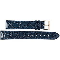 22 mm Imperial Watches Leather Band Wristwatch Leather Band Dark Blue 22 mm Clasp: Yellow